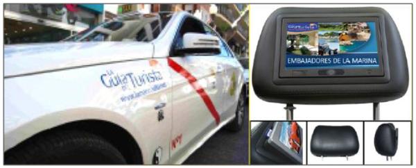 Publicidad Taxis Dénia mediante pantallas táctiles en los reposacabezas