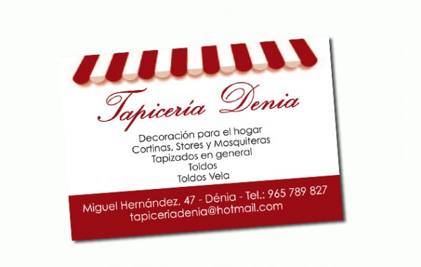 Tarjeta de visita Tapicería Dénia